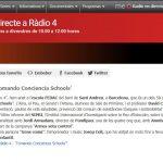 """En Directe a Rádio 4 """"Tomando Conciencia Schools"""""""